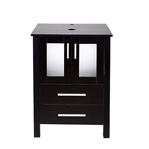 24 inch Bathroom Vanity Combo Modern MDF Cabinet, Dark Brown Fixture Pedestal Cabinet ()