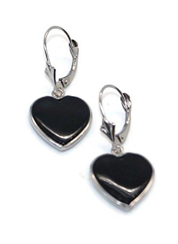 Onyx Black Heart Earrings set in 14K White Gold,Leverbacks by Sophia Fine Jewelry (Image #1)