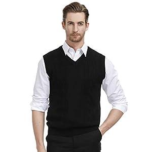 PAUL JONES Men's V Neck Sweater Vest Cable Knitted Pullover Sweaters Vest
