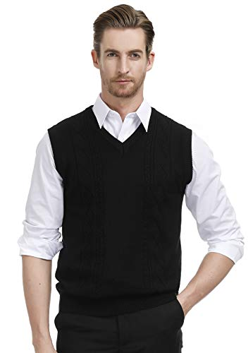 PAUL JONES Lightweight Sweater Casual V Neck Sweater Vest for Men L Black
