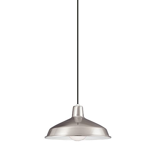 (Sea Gull Lighting 6519-98 Painted Shade Pendants One-Light Pendant, Brushed Stainless Finish)