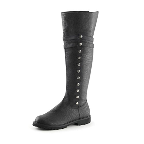 Black Men's Renaissance Shoes (Mens Black Boots with Fold Over Cuff Pirate Boots with 1.5'' Flat Heels Size: Medium)