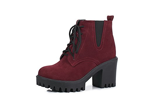 BalaMasa Womens Bandage Chunky Heels Ankle-High Solid Urethane Boots ABL10478 Red qIe75NG