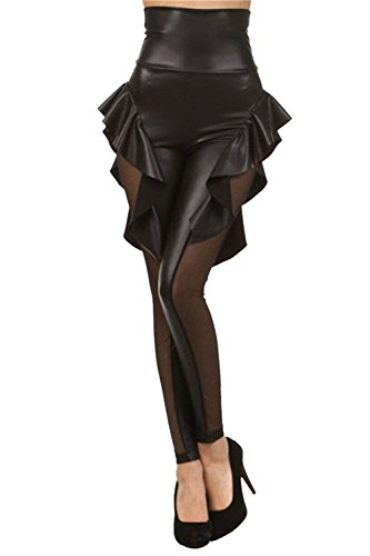 Voglee Gothic Punk Rock Star PU Leather skirt Leggings Tights Pants (one size, black)