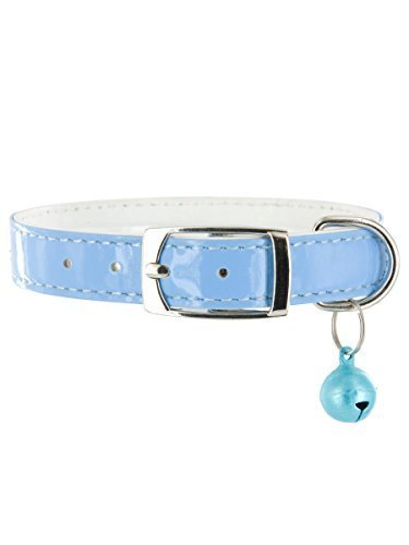 "Kakadu Pet Rodeo Drive Rhinestone Dog or Cat Collar with Bell, Small, 1/2"" x 14"", Blue"