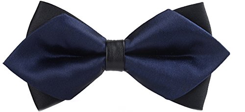 Flairs New York Gentleman's Diamond Pointed Pre-Tied Bow Tie (Prussian Blue / Black)