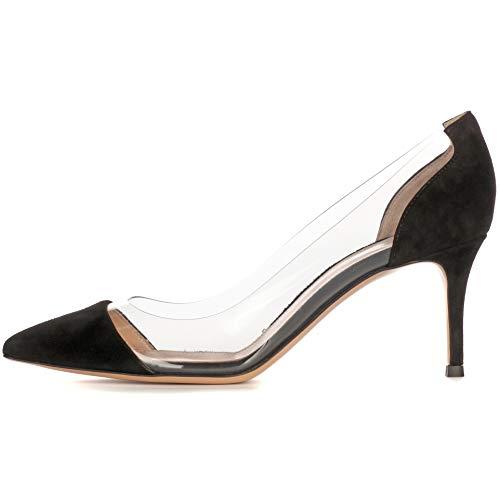 YODEKS Women's Cap Toe Pumps 85mm High Heel Transparent Shoes Stiletto Dress Pumps Black Suede US7.5 Black Suede Cap Toe Pumps