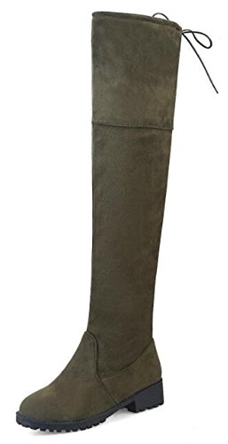 Womens Green Heels Knee Boots Faux Fashion Over High Chunky Suede Low Army IDIFU RwZd7gxx