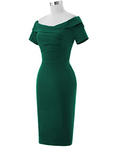 Belle Poque Cotton Womens Bodycon Dresses Hips-Wrapped Size USA14 Pine Green BP158-4