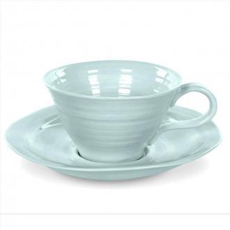 Portmeirion Sophie Conran Celadon Teacup and Saucer - Set of