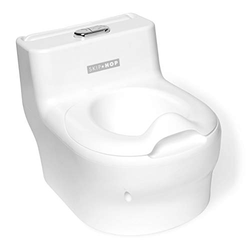 Skip Hop Made for Me Potty Training Toilet for Toddlers with Realistic Flushing Sound & Baby Wipes Holder, White ()