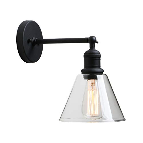 - Wall Sconce Fixture Light, Yosoan 1-Light Vintage Industrial with Funnel Flared Glass Clear Glass Shade Wall Lamps for Bathroom Porch Kitchen Living Room Hotel Restaurant Bar and Foyer(Black)