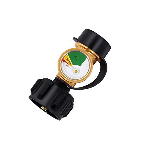 GASLAND Propane Adapter, Propane Tank Gauge, QCC1 Type1 Propane Adapter with Gauge, Grill Valve Connector for Propane Cylinder, RV Camper, BBQ Gas Grill, Heater (Bbq Grill Propane Gas Tank)