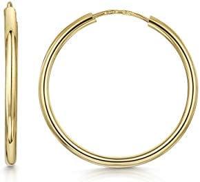 Amberta 9K Yellow Gold Hoops Sleeper Creole for Women Round Endless Earrings