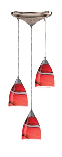 Pierra 3 Light Pendant - Elk 527-3CY 3-Light Pendant In Satin Nickel and Candy Glass
