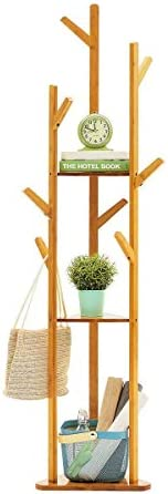 CHENNAO Bamboo Tree Garment Clothes Coat Hat Umbrella Portable Hanger Stand Rack with 3-Tier Storage Shelves and Hooks