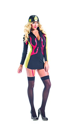 Adult Women's 2 Piece Sexy Fire Fighter Halloween Party Costume (Paramedic Costume)