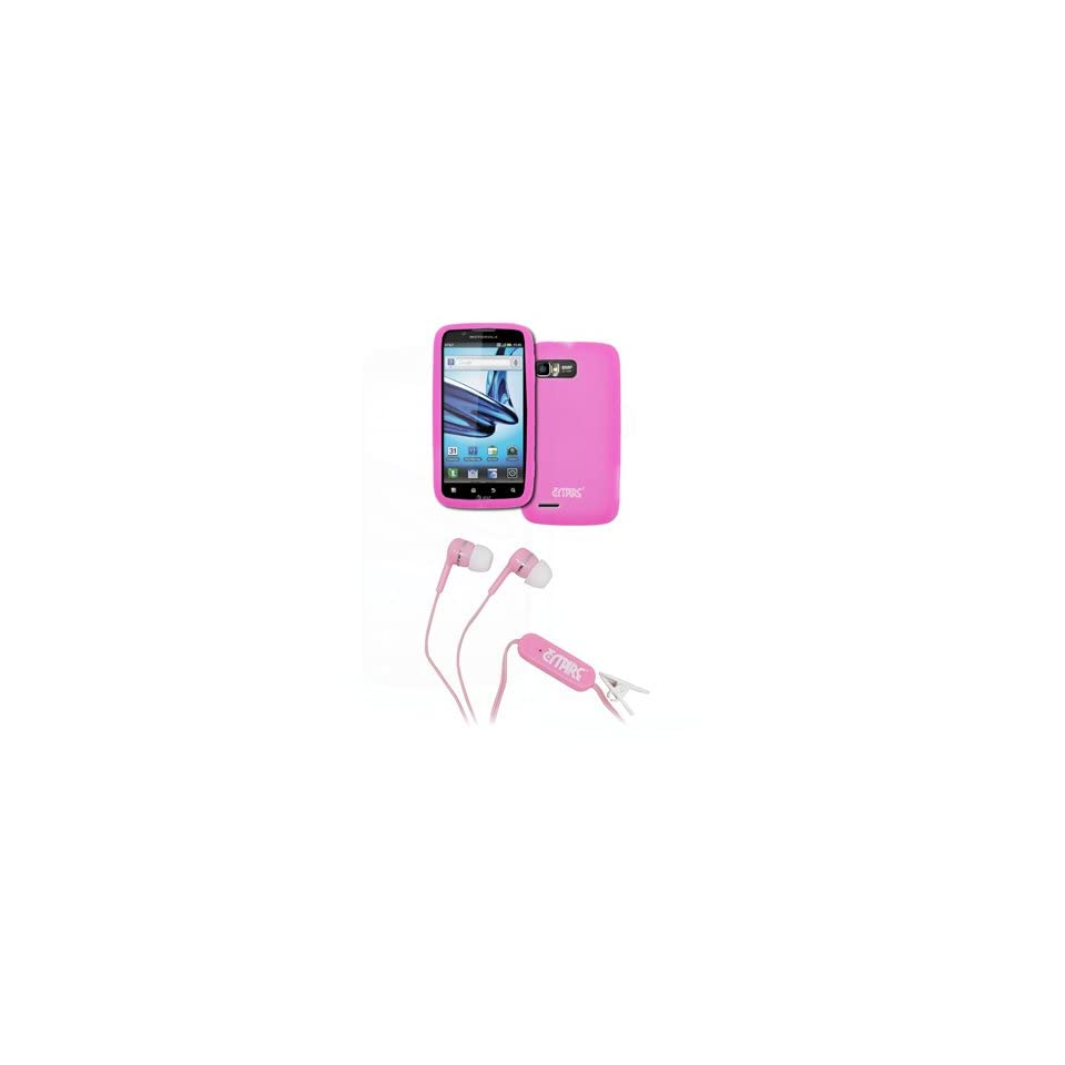EMPIRE Motorola Atrix 2 Hot Pink Silicone Skin Case Cover + Pink Stereo Hands Free 3.5mm Headset Headphones [EMPIRE Packaging]