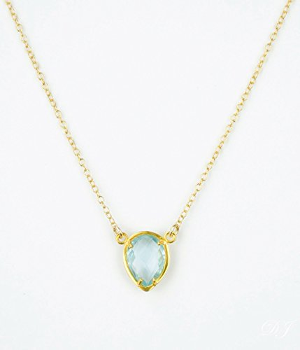 December Birthstone Necklace, Gold Blue Topaz Necklace, Christmas gift for friend [UPTD]