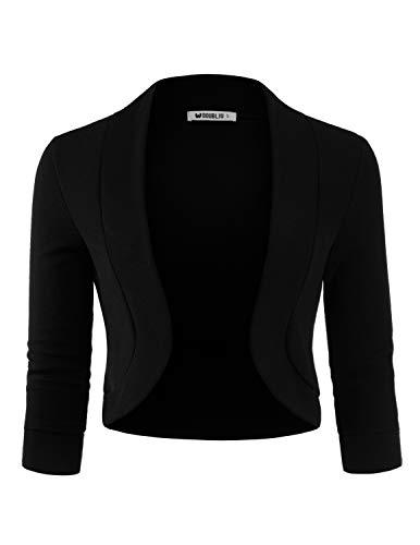 Doublju Womens 3/4 Sleeve Bolero Open Front Cardigan with Plus Size Black 2X