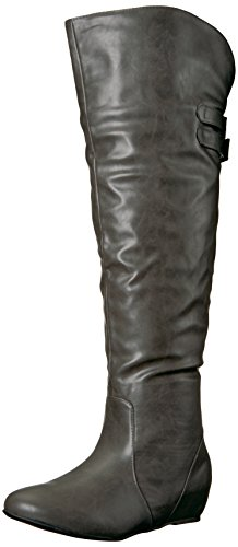 Brinley Co Women's Wing Over The Knee Boot Grey BRSGYU17