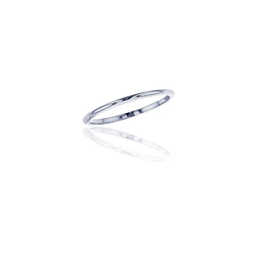 14K White Gold 1mm Polished Plain Wedding Band