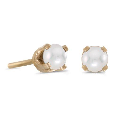 (3 mm Petite Freshwater Cultured Pearl Stud Earrings in 14k Yellow)