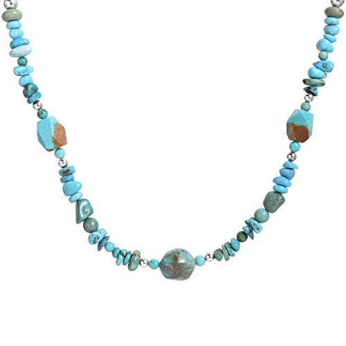 American West Sterling Silver Turquoise Nugget and Silver Bead Necklace 21 to 24 Inch ()