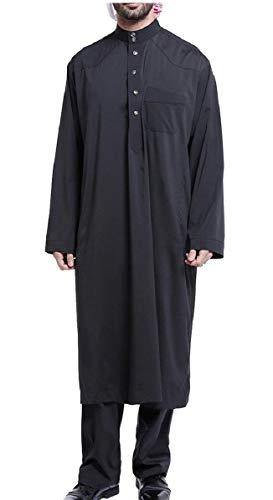 CBTLVSN Mens Middle East Arabic Abaya Muslim Outfit Arabian Robe Black L]()