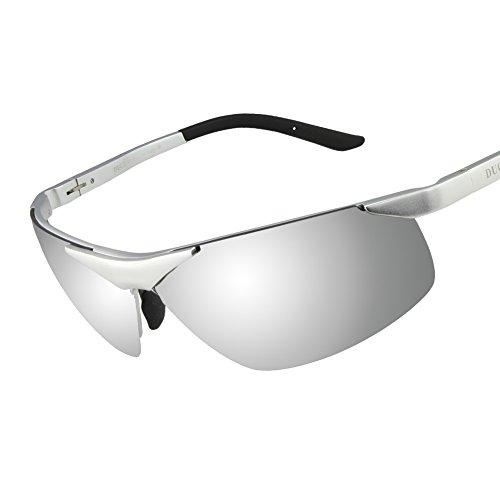 Duco Men's Sports Style Polarized Sunglasses Driver Glasses 6806S (Silver Frame Mirror Lens)