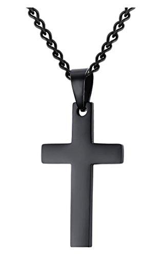 [Jenhianeck Hip Hop Titanium Steel Cross Tag Pendant Necklace With 55CM Chain(Black)] (Titanium Cross)