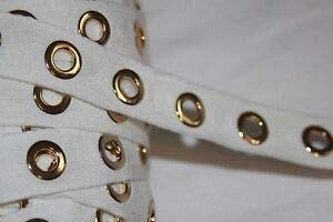 (1 Yard White Cotton Twill Extra Large Gold Grommet Grommets Eyelet Trim 1