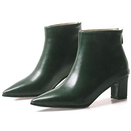 Bottines Moyen Mode De Coolcept Talon Pointu Vert Bout Femmes Zipper xaIxwqHv