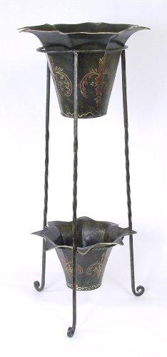 Hierro forjado Metal y de maceta con dos macetas