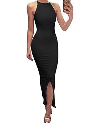GOBLES Women's Elegant Split Bodycon Sleeveless Evening Party Long Maxi Dress