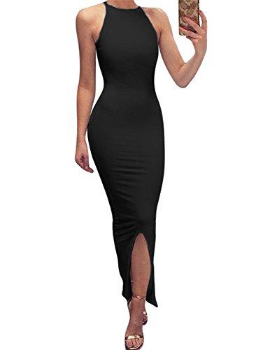 GOBLES Women's Elegant Split Bodycon Sleeveless Evening Party Long Maxi Dress Black