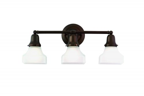 Hudson Valley Lighting 583-OB-415 Edison Collection 3 Vanity Light-Old Bronze Finish with Opal Glossy Glass Shade