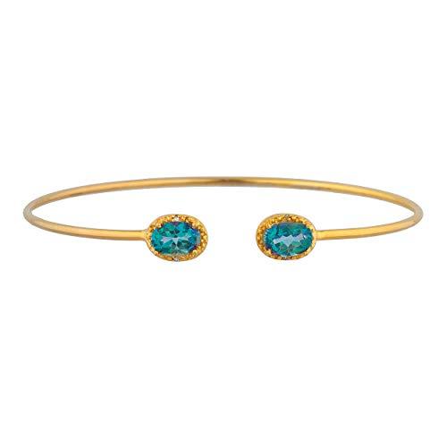 (2 Ct Natural Blue Mystic Topaz & Diamond Oval Bangle Bracelet 14Kt Yellow Gold Rose Gold Silver)