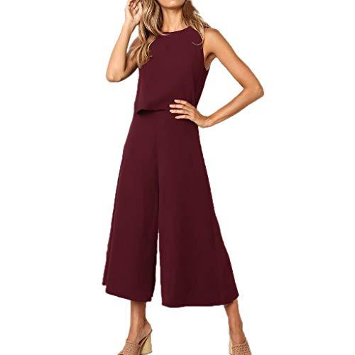- VEZAD Jumpsuit Women Summer O Neck Zipper Short Sleeve Rompers Elastic Waist Playsuit Wine