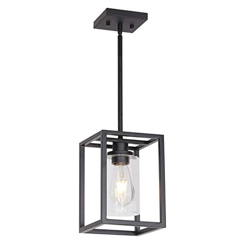 VINLUZ 1 Light Classic Farmhouse Glass Pendant Lighting Black Metal Hanging Fixture with Clear Glass Shade for Entryway Dining Room Kitchen Foyer (Classic Lighting)
