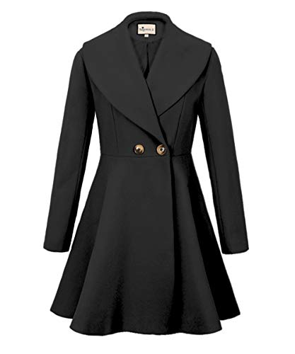 Begonia.K Women's Wool Trench Coat Lapel Wrap Swing Winter Long Overcoat Jacket, Black, US XL=Tag 2XL