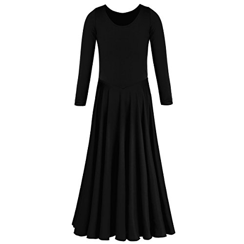 (IBTOM CASTLE Little/Big Girls Long Sleeve Liturgical Praise Lyrical Dance Dress Loose Fit Full Length Dancewear Costume Ballet Praisewear Black 3-4)