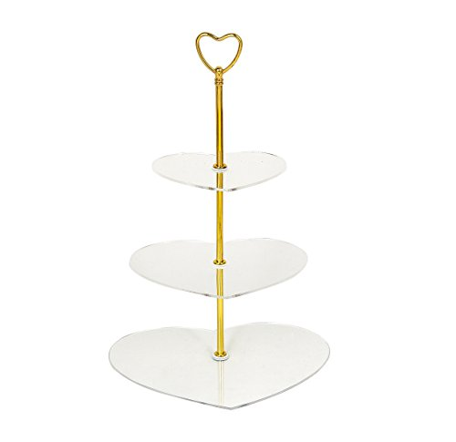 3 Tier Clear Heart-shape Acrylic Wedding Cake Stand Cake Display Stands(golden) ()