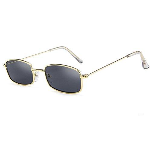 Armear Vintage Small Sunglasses Women Men Retro Square Acrylic Lens (Gold/smoke, 50)