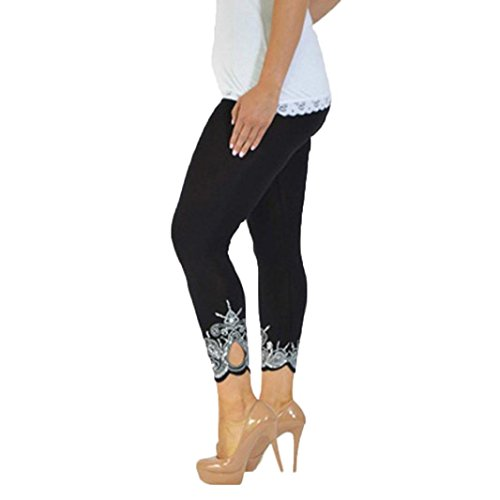 - Honhui Women Fashion Print Sport Yoga Workout Mid Waist Running Pants Fitness Elastic Leggings Plus Size S~5XL (Black, XL)