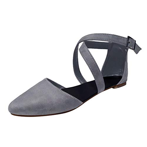 Respctful✿Women Causal Ankle Strap Shoes Slip On Slip Loafer Pointed Flat Shoes Buckle Comfort Dress Wedding Shoes Gray