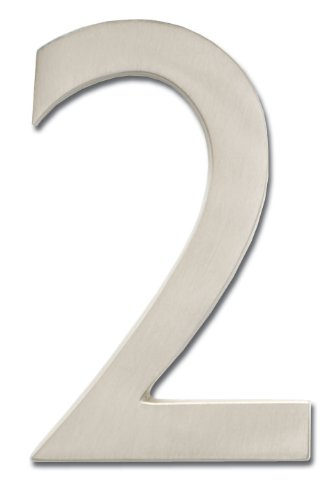 Architectural Mailboxes 3585SN-2  Brass 5-Inch Floating House Number 2, Satin Nickel