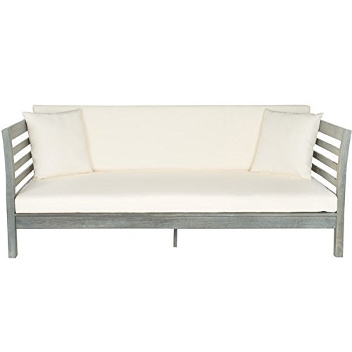 Safavieh Outdoor Collection Malibu Ash Grey/Beige Acacia Wood Cushioned (Miscellaneous Beds Collection)