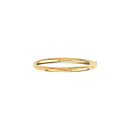 - 14K Yellow Gold Plain Shiny Round Dome Classic 5mm Wide Bangle 8