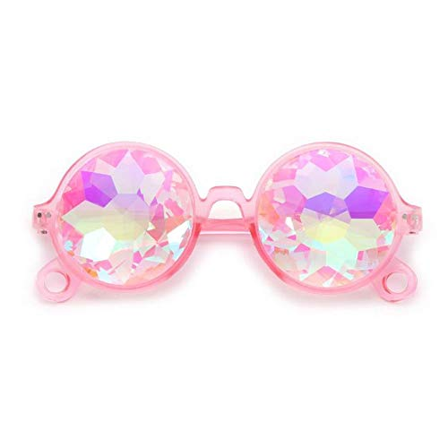 Szblk Polarized Sunglasses Sports Sunglasses Outdoor Sunglasses Flower Sunglasses Faceted Mosaic Glasses (5.59in5.51in1.85in) (Color : Pink) ()